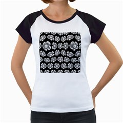 White Gray Flower Pattern On Black Women s Cap Sleeve T