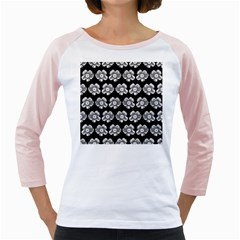 White Gray Flower Pattern On Black Girly Raglans by Costasonlineshop