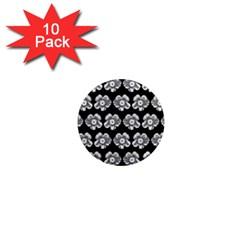 White Gray Flower Pattern On Black 1  Mini Magnet (10 Pack)  by Costasonlineshop