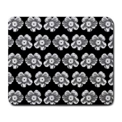 White Gray Flower Pattern On Black Large Mousepads