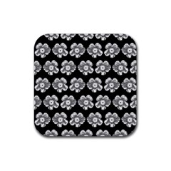 White Gray Flower Pattern On Black Rubber Square Coaster (4 Pack)