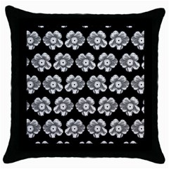 White Gray Flower Pattern On Black Throw Pillow Case (black) by Costasonlineshop