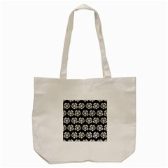 White Gray Flower Pattern On Black Tote Bag (cream) by Costasonlineshop