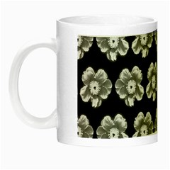 White Gray Flower Pattern On Black Night Luminous Mugs by Costasonlineshop