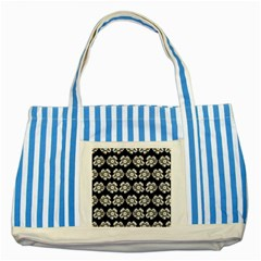 White Gray Flower Pattern On Black Striped Blue Tote Bag