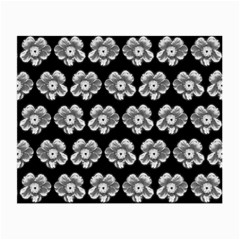 White Gray Flower Pattern On Black Small Glasses Cloth (2 Side)