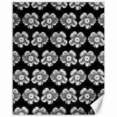White Gray Flower Pattern On Black Canvas 11  X 14