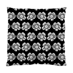 White Gray Flower Pattern On Black Standard Cushion Case (one Side) by Costasonlineshop