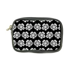 White Gray Flower Pattern On Black Coin Purse by Costasonlineshop
