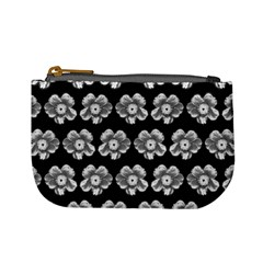 White Gray Flower Pattern On Black Mini Coin Purses by Costasonlineshop