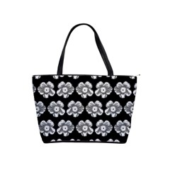 White Gray Flower Pattern On Black Shoulder Handbags by Costasonlineshop