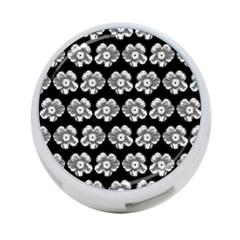 White Gray Flower Pattern On Black 4 Port Usb Hub (one Side) by Costasonlineshop