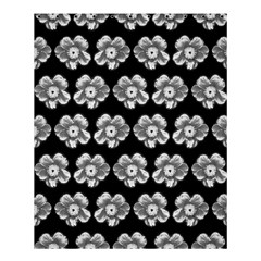 White Gray Flower Pattern On Black Shower Curtain 60  X 72  (medium)