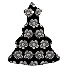 White Gray Flower Pattern On Black Ornament (christmas Tree) by Costasonlineshop