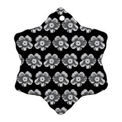 White Gray Flower Pattern On Black Snowflake Ornament (2 Side) by Costasonlineshop