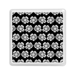 White Gray Flower Pattern On Black Memory Card Reader (square)  by Costasonlineshop