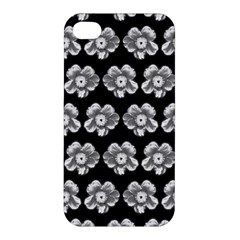 White Gray Flower Pattern On Black Apple Iphone 4/4s Hardshell Case by Costasonlineshop