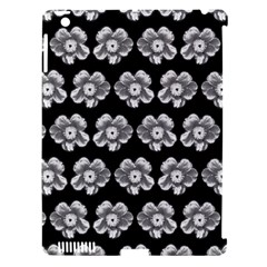 White Gray Flower Pattern On Black Apple Ipad 3/4 Hardshell Case (compatible With Smart Cover) by Costasonlineshop