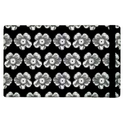 White Gray Flower Pattern On Black Apple Ipad 2 Flip Case by Costasonlineshop