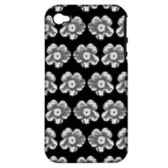 White Gray Flower Pattern On Black Apple Iphone 4/4s Hardshell Case (pc+silicone)