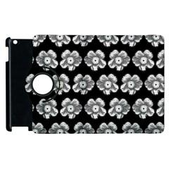 White Gray Flower Pattern On Black Apple Ipad 3/4 Flip 360 Case by Costasonlineshop