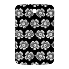 White Gray Flower Pattern On Black Samsung Galaxy Note 8 0 N5100 Hardshell Case