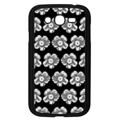 White Gray Flower Pattern On Black Samsung Galaxy Grand Duos I9082 Case (black)