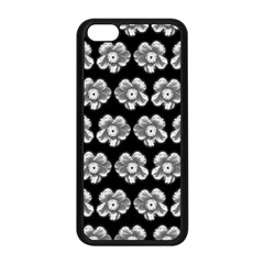 White Gray Flower Pattern On Black Apple Iphone 5c Seamless Case (black)