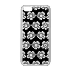 White Gray Flower Pattern On Black Apple Iphone 5c Seamless Case (white) by Costasonlineshop