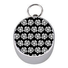 White Gray Flower Pattern On Black Mini Silver Compasses by Costasonlineshop
