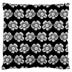 White Gray Flower Pattern On Black Large Flano Cushion Case (one Side) by Costasonlineshop