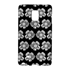White Gray Flower Pattern On Black Galaxy Note Edge by Costasonlineshop