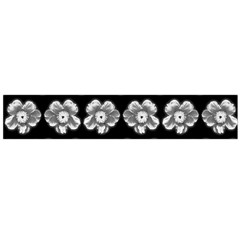 White Gray Flower Pattern On Black Flano Scarf (large) by Costasonlineshop