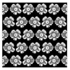 White Gray Flower Pattern On Black Large Satin Scarf (square) by Costasonlineshop