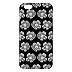 White Gray Flower Pattern On Black Iphone 6 Plus/6s Plus Tpu Case