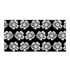 White Gray Flower Pattern On Black Satin Wrap