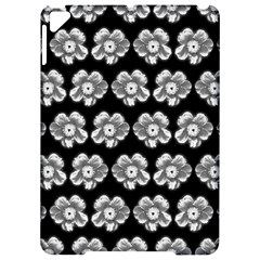 White Gray Flower Pattern On Black Apple Ipad Pro 9 7   Hardshell Case by Costasonlineshop