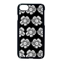 White Gray Flower Pattern On Black Apple Iphone 7 Seamless Case (black)