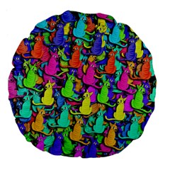 Colorful Cats Large 18  Premium Flano Round Cushions by Valentinaart