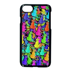 Colorful cats Apple iPhone 7 Seamless Case (Black) by Valentinaart