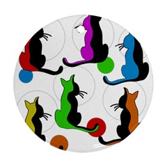 Colorful Abstract Cats Round Ornament (two Sides)  by Valentinaart