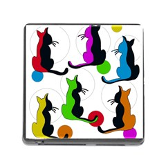 Colorful Abstract Cats Memory Card Reader (square) by Valentinaart