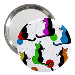 Colorful Abstract Cats 3  Handbag Mirrors by Valentinaart