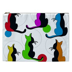 Colorful Abstract Cats Cosmetic Bag (xxl)  by Valentinaart