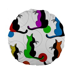 Colorful Abstract Cats Standard 15  Premium Round Cushions by Valentinaart