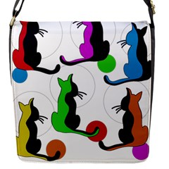 Colorful Abstract Cats Flap Messenger Bag (s) by Valentinaart