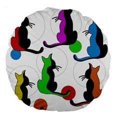Colorful Abstract Cats Large 18  Premium Flano Round Cushions by Valentinaart