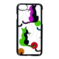 Colorful Abstract Cats Apple Iphone 7 Seamless Case (black) by Valentinaart