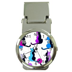 Purple Abstract Cats Money Clip Watches by Valentinaart