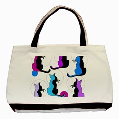 Purple Abstract Cats Basic Tote Bag (two Sides) by Valentinaart